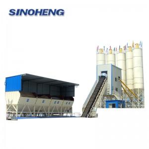 HZS90BE 90m3/h Belt conveyor concrete mixing plant